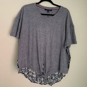NEW Tommy Hilfiger grey floral tie front blouse